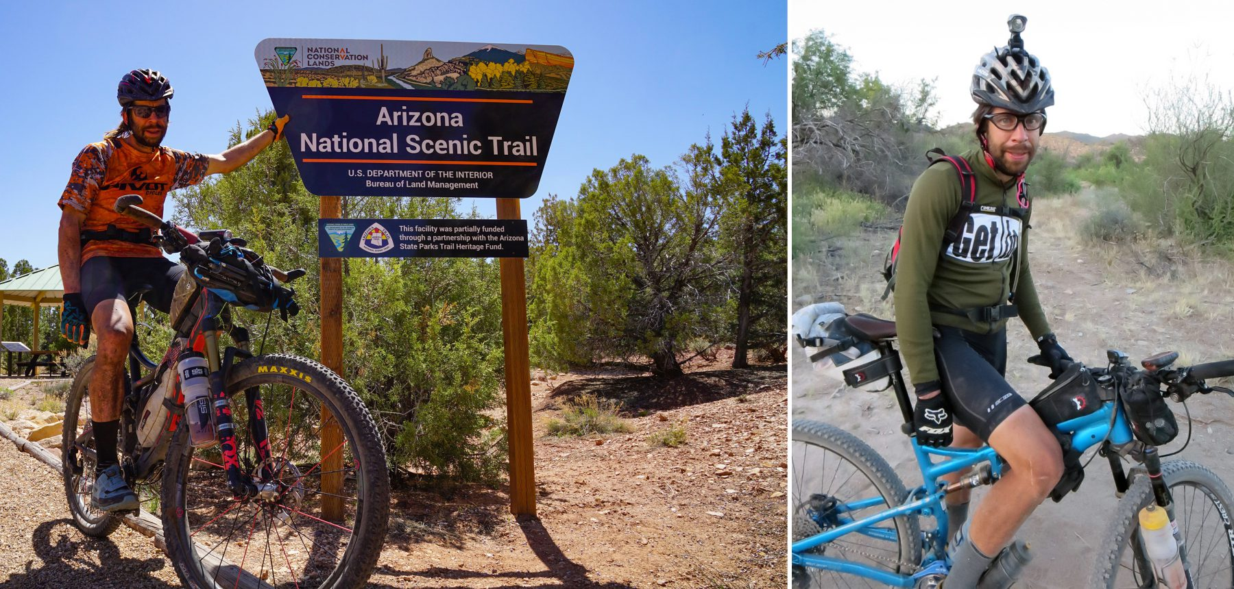 Kurt Refsnider at the finish of the AZT 750 (left) and after setting the record on the AZT 300 (right).
